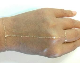 Simple Chain Slave Bracelet, Slave Bracelet, Hand Chain Bracelet in Gold Filled, Rose Gold Filled or Sterling Silver