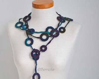 Crochet circle necklace, shades of dark blue, turquoise and purple, N390