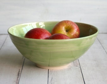 Spring Green Serving Bowl Wheel Thrown Stoneware Pottery Bowl Made in USA Ready to Ship