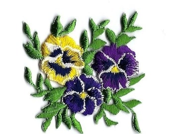 embroidered iron on applique-PANSIES 2 1/4 x 2 1/2 inches