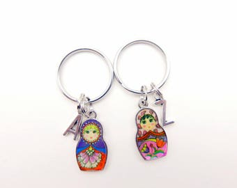 Best Friends, Russian doll keyring, Russian doll keychain, initial monogram keychain,