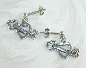925 Sterling Silver Heart with Key Earrings