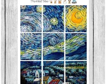 Wallpaper Stickers - Starry Night - planner stickers - #freestyleplanning