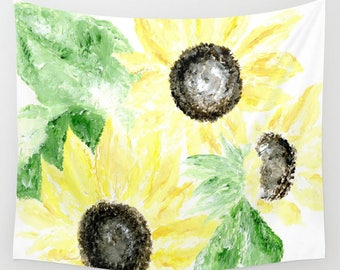 Sunflower Wall Tapestry, yellow wall tapestry, floral wall tapestry, dorm room decor, yellow flower tapestry, flower wall tapesry
