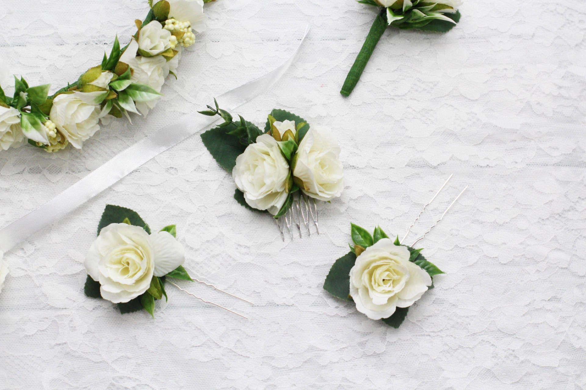 White Roses Hair Comb Small Bridal Hair Comb White Bridesmaid