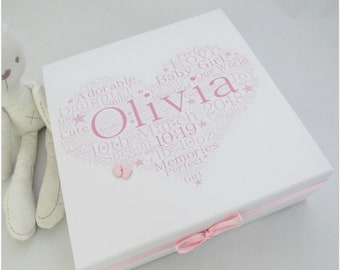 """Baby Girl Personalised Memory Keepsake Box With word art heart and """"twinkle twinkle"""" Quote Down Sides, baby memory box, keepsake box,"""