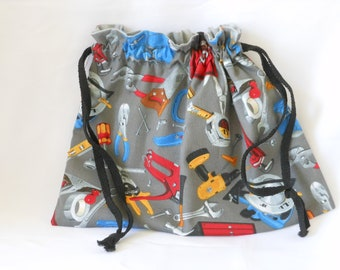 drawstring gift bag with construction tool theme,  Father's Day or birthday tote, great for men or women who loves tools