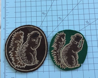 Vintage large Squirrel patches on felt