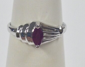 Marquise Cut Natural Ruby Ring 925 Sterling Silver