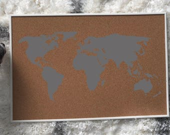 World map, cork board, tack board, custom sign, teen bedroom, office, birthday gift, Christmas gift