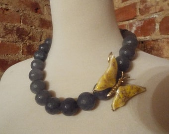 Grey Agate Statement Necklace w/Vintage Butterfly Brooch