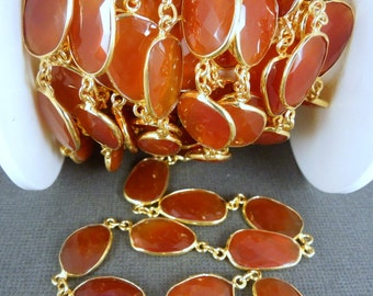 Red Onyx Gold Plated Bezel Station Connector Chain per foot (chn-174)