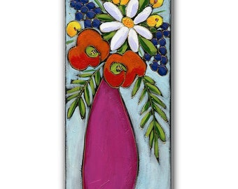 Original acrylic painting on canvas, flowers vase, home decor by artist Isabelle Malo