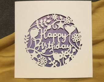 Hand cut birthday card