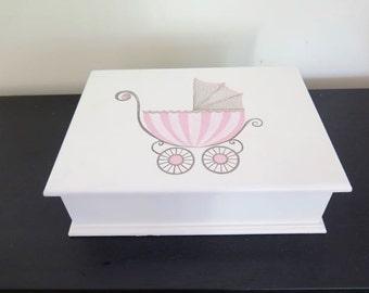 Baby Girl Keepsake, Memory box, newborn gift , Christening or Baptism box - Handpainted