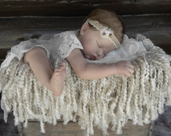 Photo Prop Baby Headband Burlap and Lace with Satin Ribbon Roses and Pearls, Stretching to fit  13-15 inches