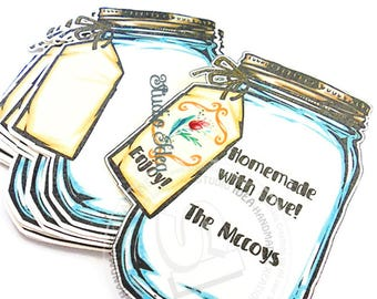 "3"" Jar Tags, Die cuts - Blank or Personalized Gift Tags, Favor Tags, Label -Set of 25pcs, 50pcs"