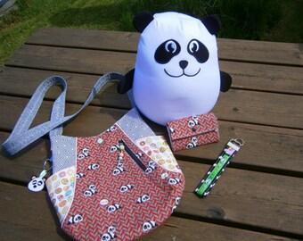 Taschen -Set Pandabären mit Geldbörse und Schlüsselanhänger, Minimoneybag,Panda, Totebag241, rot, Donuts, handmade