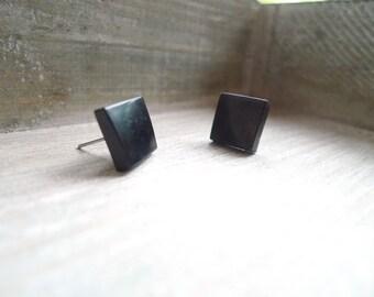 Square stud earrings Stainless steel posts, Geometric studs, Black studs