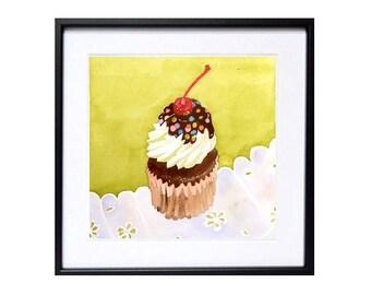 Cake Art, Dessert art, Kitchen art, kitchen decor, Original, Cupcake painting, Cake Illustration, Cake poster, watercolor, LaBerge, 8x8 in
