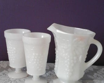 Anchor Hocking Milk Glass Pitcher and Glasses