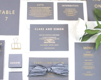 SAMPLE Wedding Invitation Gold Foil Grey and Gold contemporary