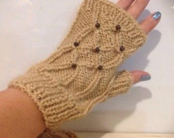 Valentines gift Fingerless Gloves, Fingerless Wrist Warmers,Beige Fingerless Mittens, Gloves, Women's Gloves, typing gloves