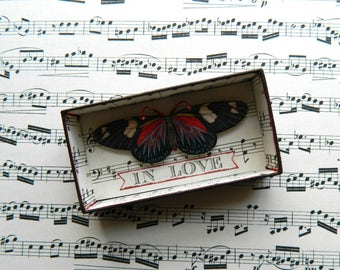 Butterfly Shadow Box, Matchbox Art, Love, Whimsical Gift, Love is Strange, Assemblage Art, Small Art, Up cycled, Shadowbox Art, Matchbox Art