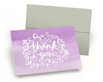 Elegant Set of Thank You Cards - Watercolor Doodle (10 Cards + Sage Green Envelopes)