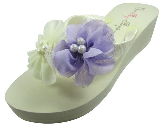 flip colors wedding bride Ivory flat choose chiffon flops bridesmaids flower colors any and pearl wedge 6qCCTIwx