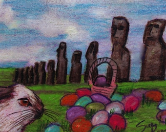 original art  aceo card drawing easter island bunny rabbit hiding eggs