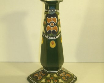 Antique Noritake Nippon Candlestick Tall  Art Nouveau Art Deco Arts And Crafts Vintage Hand Painted Green Yellow Orange Black Candle Holder