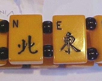 Bakelite Mah Jong Bracelet North South East West Tiles