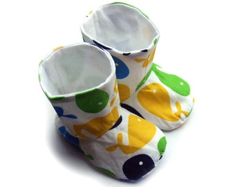Baby boy boots, in little sea whales, size 0-6 months - SALE