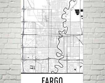 Fargo map Etsy