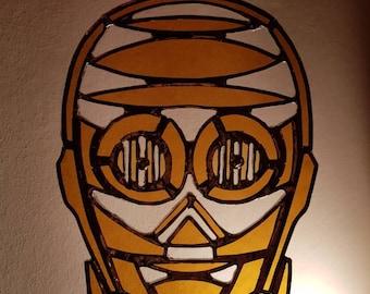 Handmade stained glass Star Wars inspired C-3PO Style suncatcher / wall hanger made in scotland