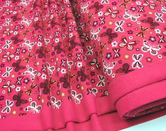 Softshell red butterflies on pink 0.54yd (0.5m)