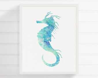 Seahorse Wall Decor, Seahorse Painting, Seahorse Print, Watercolor Seahorse, Nautical Wall Art, Coastal Wall Decor, Beach Art Print, Sealife