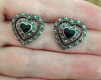 Onyx and Marcasite Sterling Silver Heart Shaped Earrings