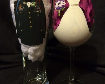 Military Wedding Custom Bride and Groom Glasses