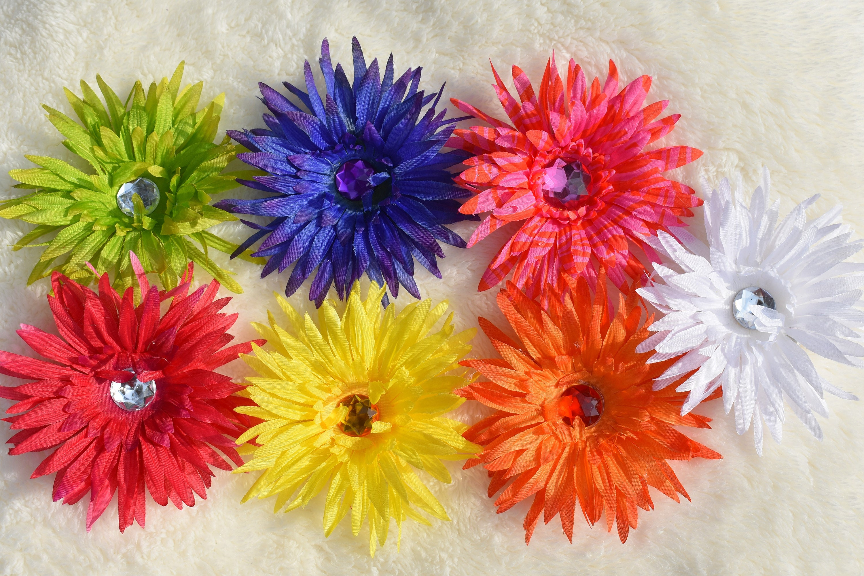 Multi Colored Daisy Flower Hair Clip Bundle of 7