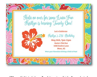 Hibiscus Luau Party Invitation, Hawaii Luau Invitation, Hawaiian Pool Party Invitation, Edit Now, Instant Download, Templett