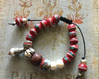 Tibetan bead mala bracelet boho yoga indie