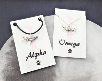 Wolf Necklaces, Set Of 2, Alpha And Omega, Couples Necklaces, Jewelry Set, Two Pieces, Alpha Wolf, Matching Necklaces, Wolf Pack, She Wolf