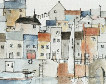giclee art print of a harbor town