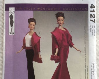 """McCall's Crafts Pattern 4127 - Tyler Wentworth 16"""" Doll Clothing-One Shoulder Gown or Top, Belt, Purse, Evening Coat and Skinny Pants-UNCUT"""