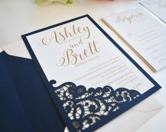 Navy Blue, Blush, Gold Wedding Invitation- Lace Laser Cut Romance (NOT A SAMPLE LISTING) Color/wording/materials Customizable-Pink