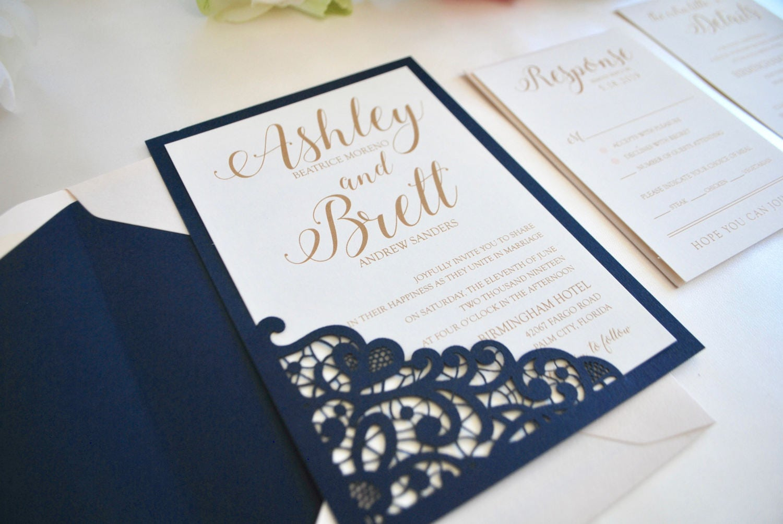 Navy And Gold Wedding Invitations: Navy Blue Blush Gold Wedding Invitation Lace Laser Cut