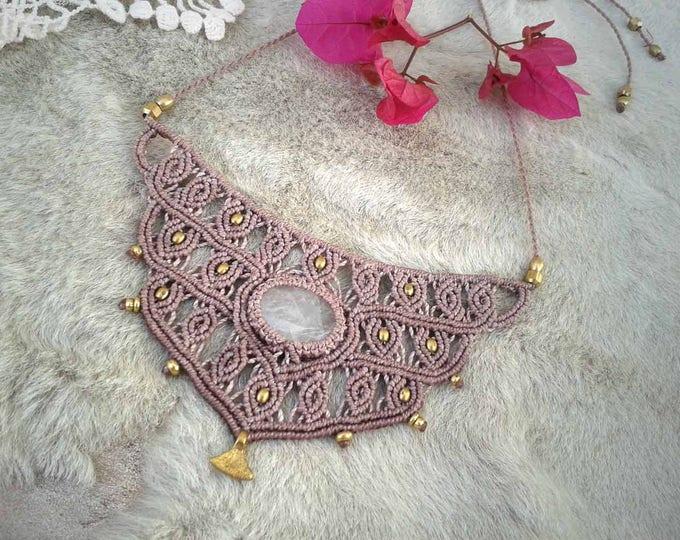 Cristal Quartz Macrame necklace Mod. Silvi, unique piece, fairy necklace, goodess  macrame necklace, ethnic necklace, ethnic jewelry, soul