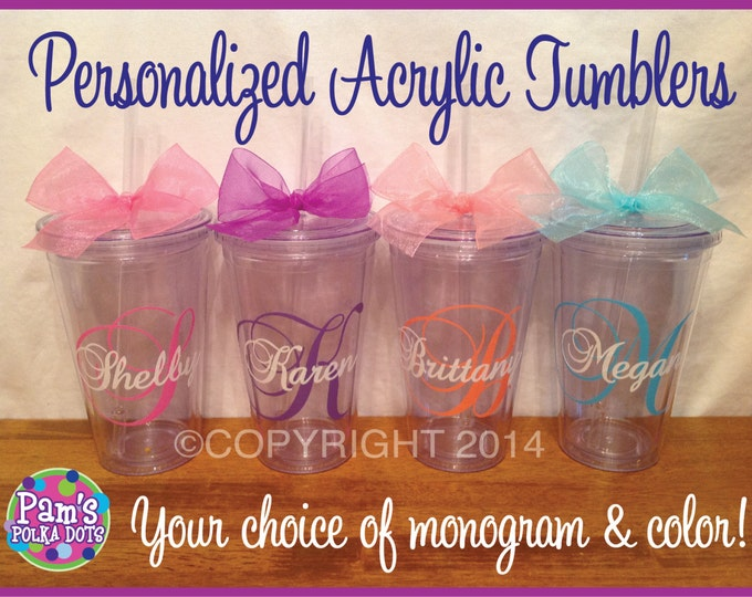 4 Personalized MONOGRAMMED ACRYLIC TUMBLERS with Large Script Initial & Name Over Top Your Choice of Colors and Polka Dots